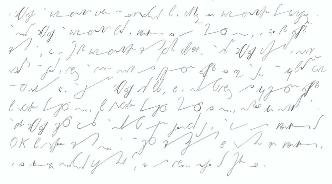 Stenogramm: Hauptsätze der Thermodynamik. Deutsche Einheitskurzschrift (DEK) – Verkehrsschrift