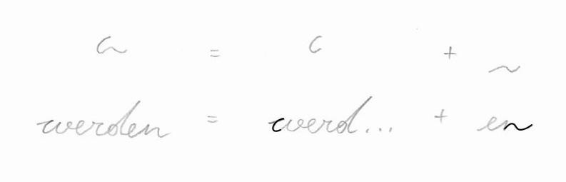 Stenogramm: werden = werd... + en. Deutsche Einheitskurzschrift (DEK) – Verkehrsschrift